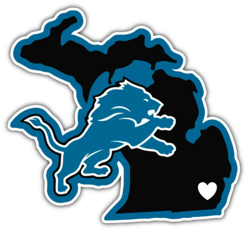 Detroit Lions NFL Map Logo Car Bumper Sticker Decal 3/'/' or 5/'/'
