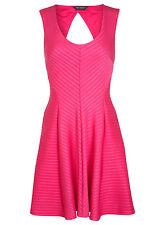 #New UK 16 Miss Selfridge Pink Rib Skater Fit & Flare Bandage Dress Party/Summer