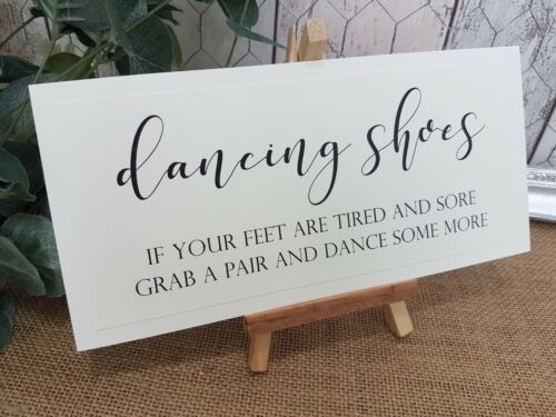 Dancing Shoes Slippers wedding Sign White Print chalkboard style calligraphy