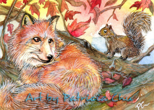 "ACEO LE Art Card Print 2.5x3.5/"" /"" Join Me For A Nap /"" Animal Art by Patricia"