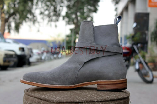 New Handmade Mens Latest Jodhpur Suede Ankle High Boots with Leather Sole