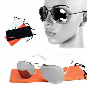 Damen-Pilotenbrille-Sonnenbrille-Silber-Verspiegelt-Top-Gun-Fliegerbrille-Modern