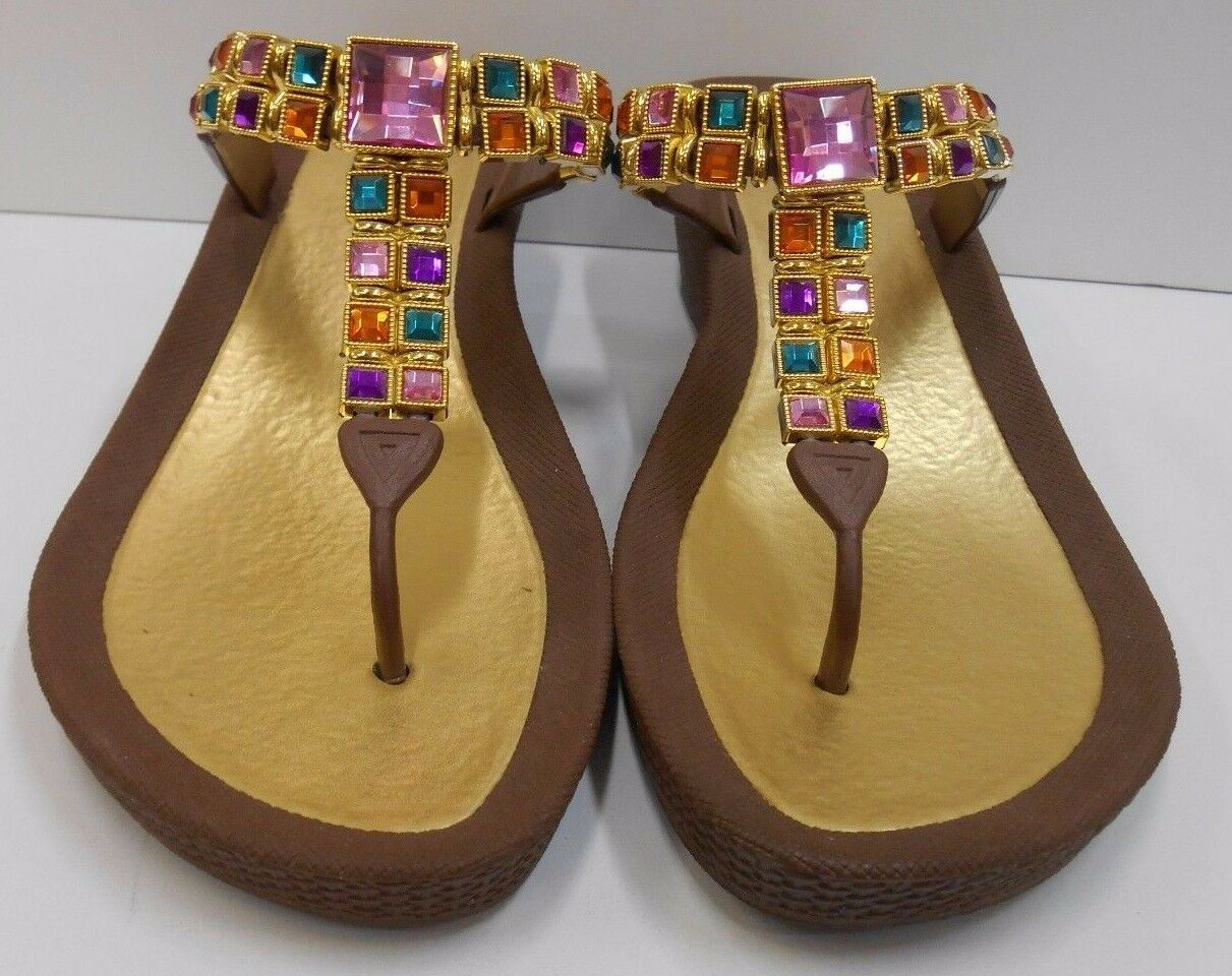 GRANDCO SANDALS Dressy Beach Pool THONG Brown BLING GEMSTONE Jeweled WEDGE