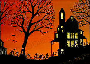 Halloween-witch-silhouette-party-black-cat-Giclee-ACEO-print-folk-art-Criswell