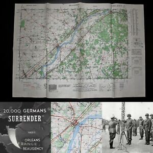 WWII-Rare-9th-Army-Vet-Map-Army-Assault-Map-of-Beaugency-France-WW2-Relic