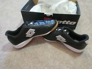 Lotto-Calcio-ID-Jr-Soccer-Indoor-Cleat-Shoes-10880-Black-White-Vintage-NEW-NOS