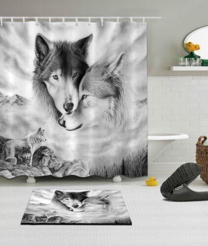 Loving Wolf Couple Shower Curtain Liner Bathroom Set Waterproof Fabric Mat Hooks