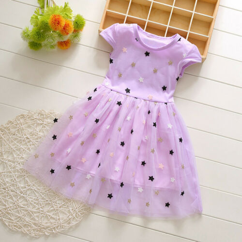 Summer Toddler Baby Kids Girls Patchwork Stars Tulle Princess Dresses Clothes