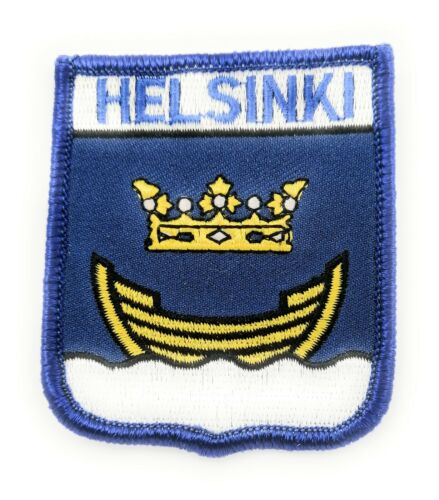 FREE UK P/&P Helsinki on Shield Embroidered Sew on patch