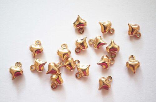 20 minuscules petits soufflé Coeur Charms 6 mm-Chaud Plaqué Or