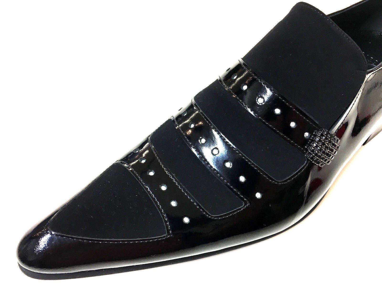 Los últimos zapatos de descuento para hombres y mujeres Chelsy extravagantes Designer cuero zapatos caballero negras suela de cuero Slipper 44