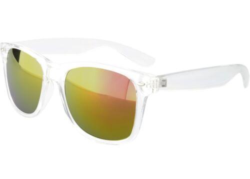 Mens Womens Sunglasses Retro Clear Frame Classic Horn Rim Red Mirror Lenses