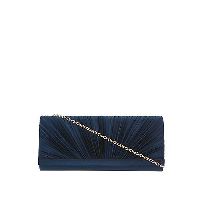 NEW Collection Pleat Satin Clutch Bag Navy