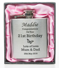 Engraved BIRTHDAY BUTTERFLY 3oz Hip Flask in Pink Silk Gift Box Girls 18th/21st