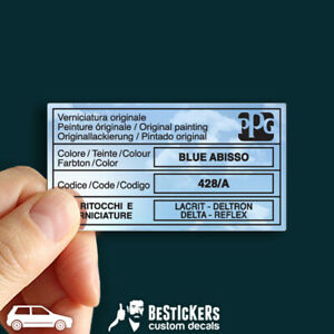 1 Adesivo restauro etichetta vernice PPG Fiat Uno Turbo ecc Blu Abisso 428/A