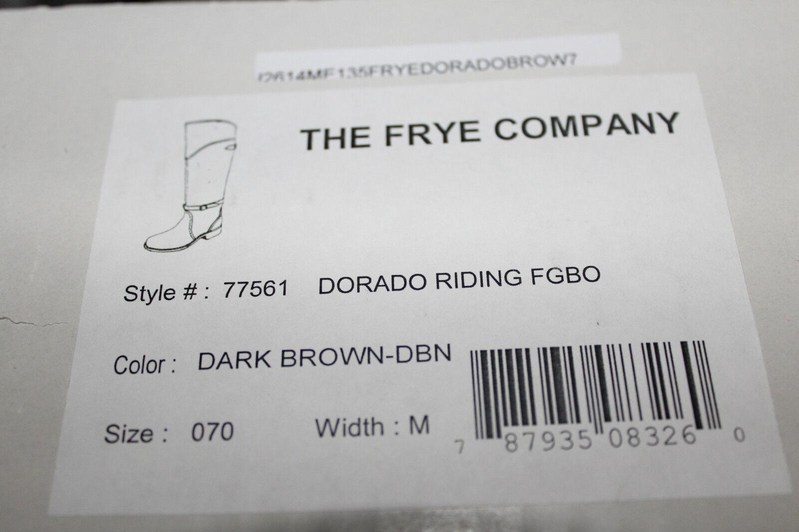 FRYE DORADO BROWN RIDING DARK BROWN DORADO LEATHER #7us $501 35385f