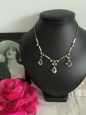 Vintage 20s Art Deco Downton Bohemian Glass Drop Necklace Signed Czech. Party