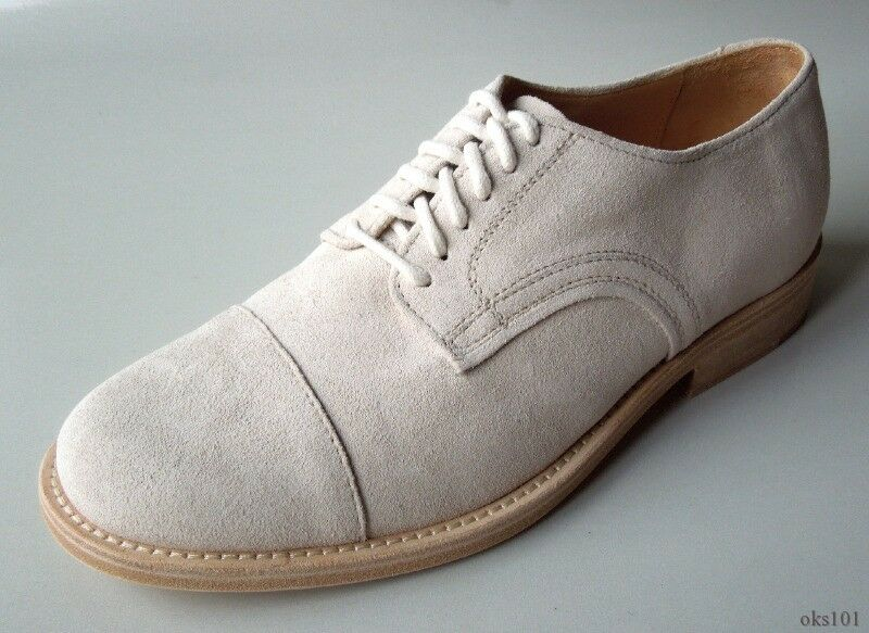 NIB  mens FACONNABLE ivory suede cap toe oxfords dress shoes  40 US 7