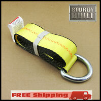 6x 12' Lasso Strap Tie Down Wheel Lift Rollback Tow Hauler Dolly Trailer Wrecker