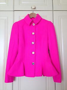 fe6ffea8b0400c TED BAKER Bracti pink peplum jacket dress coat full skirt fit ...