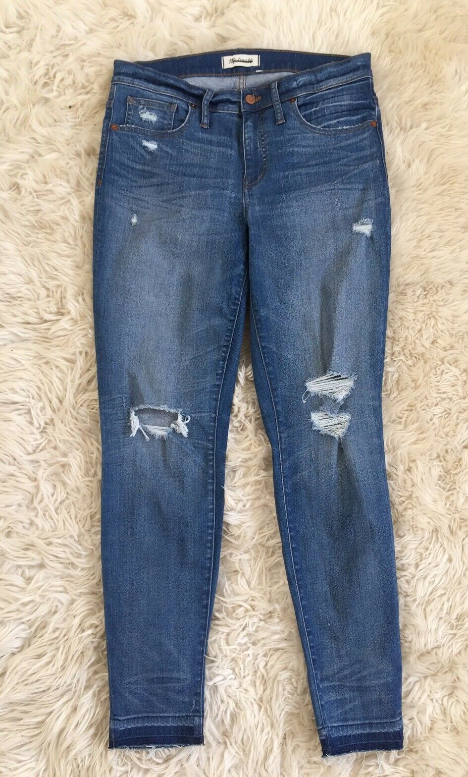 Madewell 9  high-rise skinny jeans in winifred wash  drop-hem edition 30 G6148