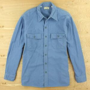 vtg-usa-made-LL-BEAN-chamois-camp-flannel-shirt-17-LARGE-blue-distressed