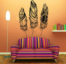 Wall Room Decor Art Vinyl Sticker Mural Decal Indian Plumage Feathers Cool FI184