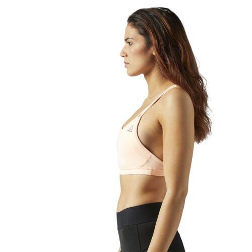 Reebok Womens Les Mills Hero Padded Sports Bra Strappy Gym Crop Top