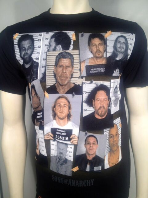 FALL '13 AUTHENTIC SONS OF ANARCHY GROUP MUG SHOT PRISON SOA SAMCRO SHIRT S-3XL