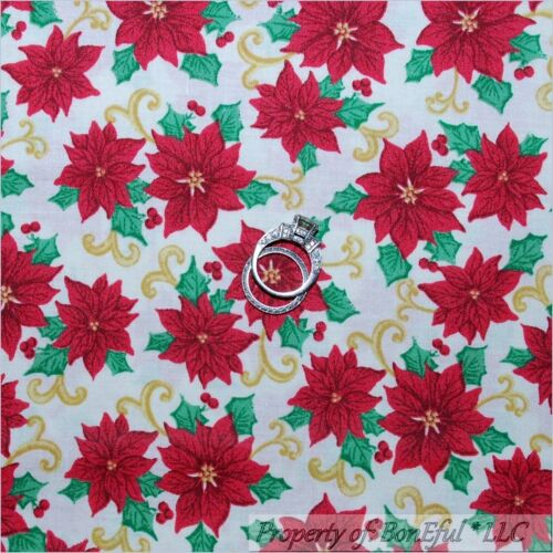 BonEful Fabric FQ Cotton Quilt White Red Green Xmas Flower Poinsettia Gold Swirl