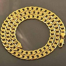 Free Shipping lucky Yellow Gold Filled Mens cuban link chain Necklaces vintage