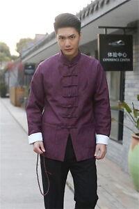 92244609026 Purple Handsome Chinese men s Linen clothing jacket coat SZ  M L XL ...