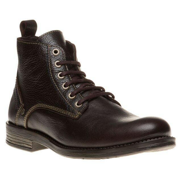 New Mens Wrangler Brown Cliff Mid Leather Boots Lace Up