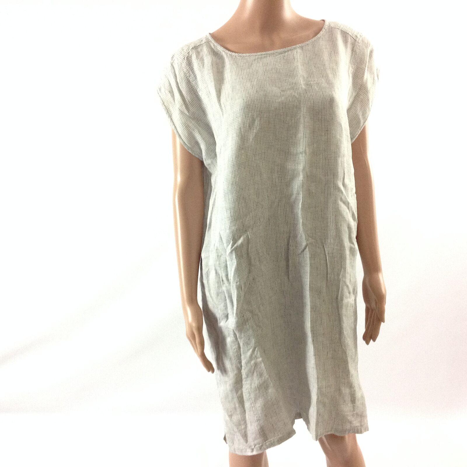 Eileen Fisher F18 Womens Dress 100% Organic Linen Linen Linen Plaids Short Sleeve Size S dcbc4b