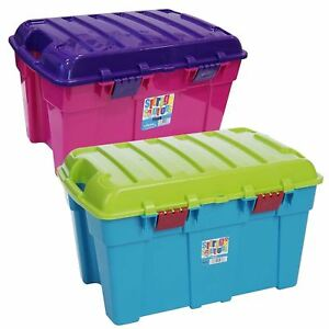 Image Is Loading 48L Kids Childrens Plastic Storage Trunk Box Stackable