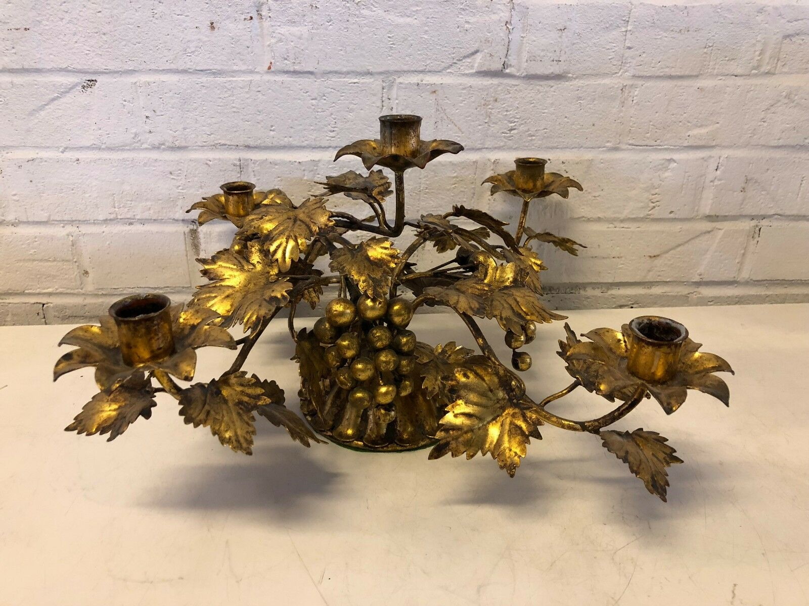 Vintage Gilt Metal 5 Candle Holder Center with Leaf and Grape Decorations