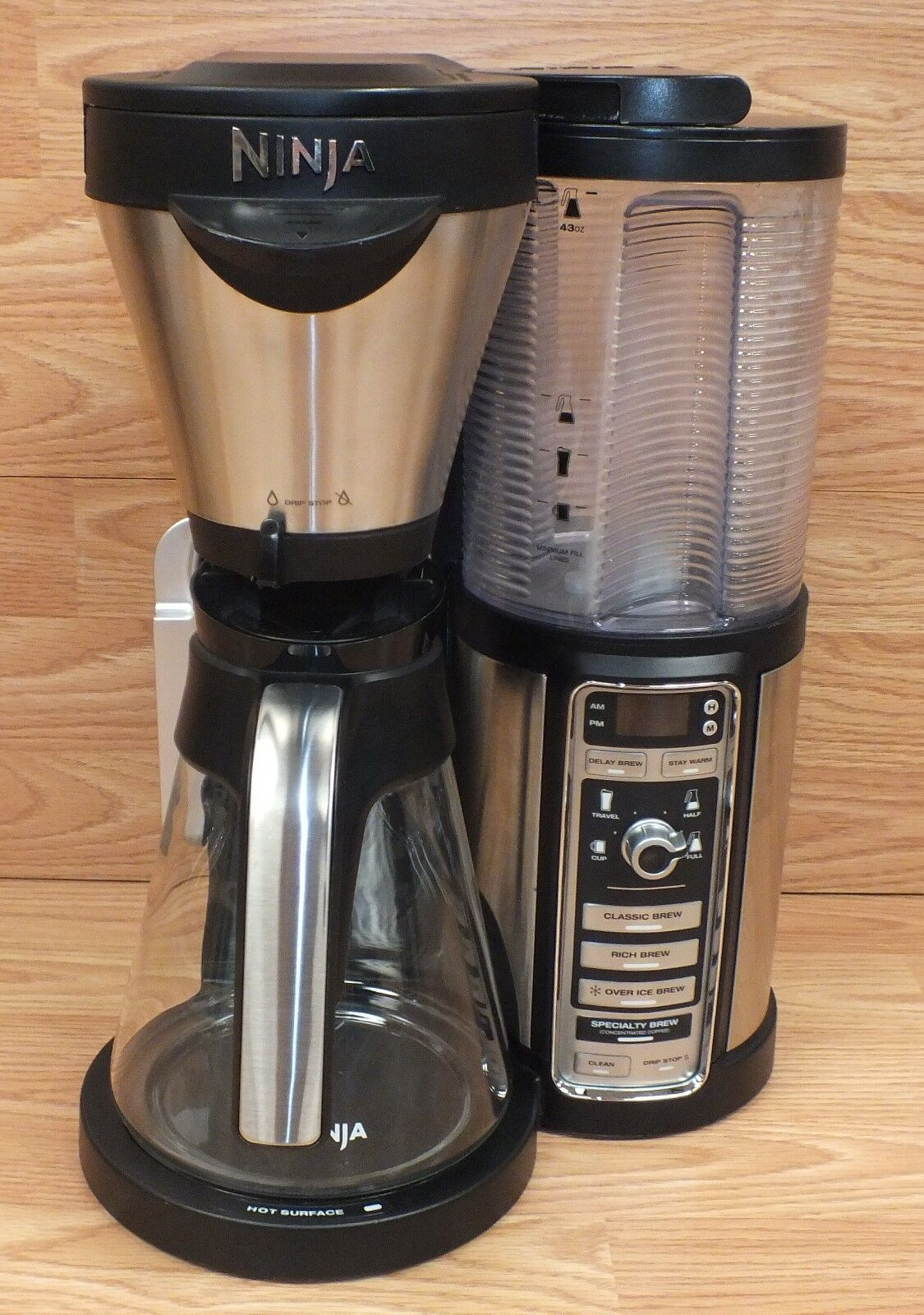 Ninja (cf082) single serve coffee maker brewer bar option w glass jug