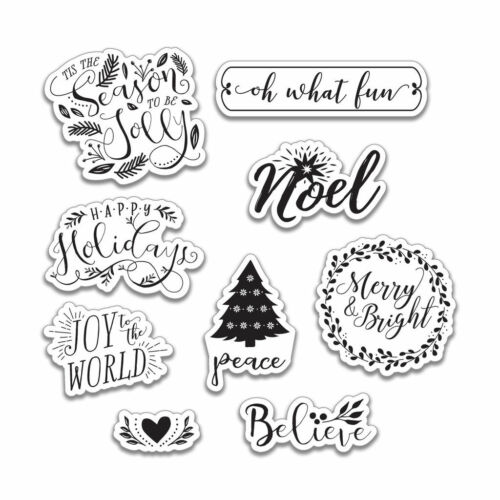 NEW 9 pcs Holiday Greeting Clear Stamps By Recollections 529182