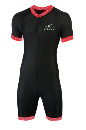 Flyker Mens Cycling Skinsuit Stylish Padded Bicycle Jersey Short One Piece Suit