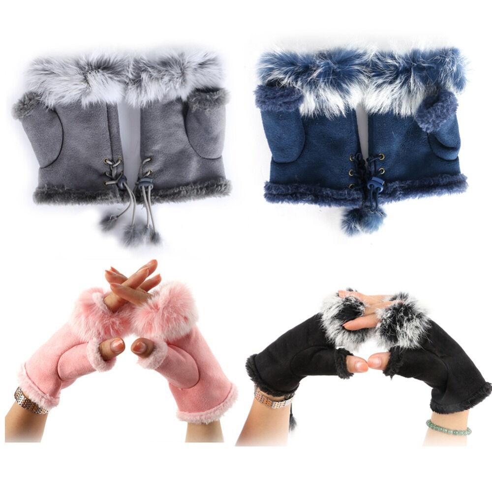 Lovely Rabbit Fur Leather Fingerless Gloves ~ White