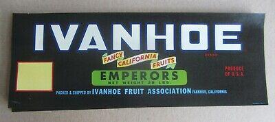 Emperor GRAPE Crate LABELS CA. Ivanhoe Wholesale Lot of 100 Old Vintage