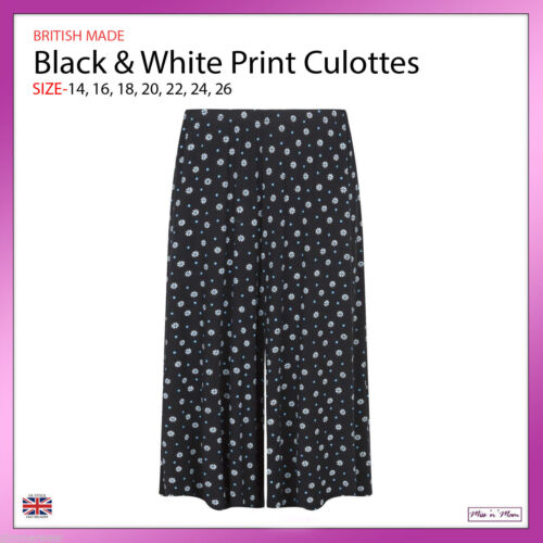 NUOVI Sandali Donna Pull On Black /& White Print Jersey culotte STANDARD PLUS TG 14-26