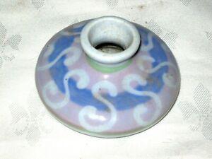 An-Unusual-Blue-Swirl-Glaze-Decorative-Squat-Pottery-Vase