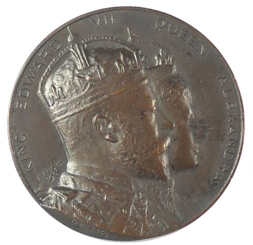 1902 Great Britain CORONATION OF EDWARD VII NEWCASTLE bronze 38mm dark finish