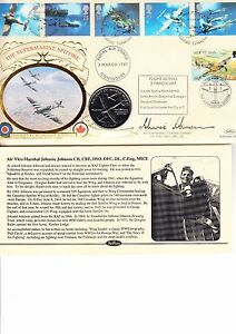 THE SUPERMARINE SPITFIRE COIN COVER- SIGNED AVM 'JOHNNIE' JOHNSON