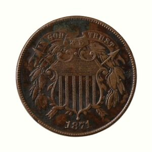 Raw-1871-Two-Cent-2C-Circulated-Uncertified-US-Minted-Copper-Coin