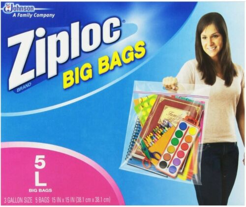 Pack of 8 Ziploc Big Bag Double Zipper 5 ea