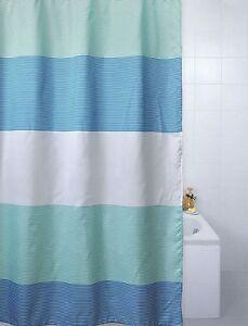 Image Is Loading Blue Canyon Shower Curtains Stripes Cream Aqua Grey