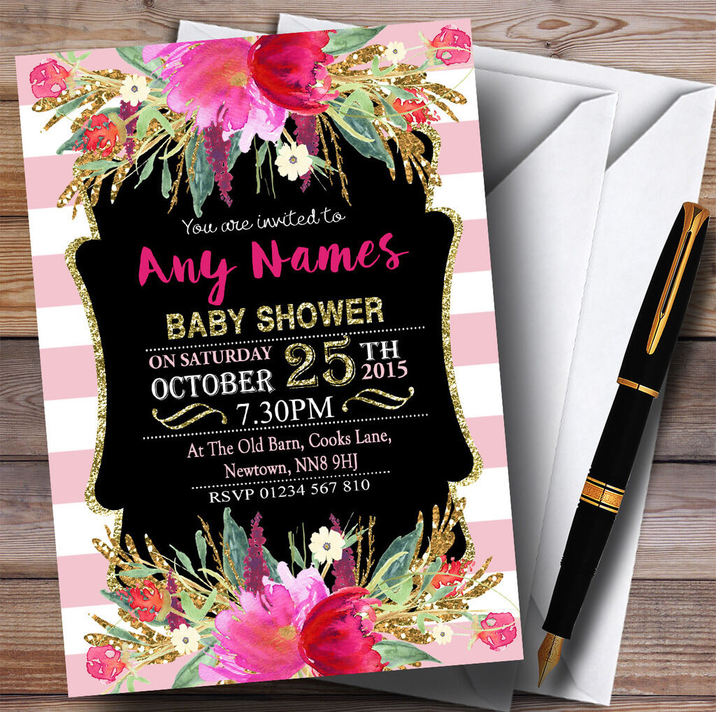Rayures or rose filles Floral or Rayures invitation Baby Shower Invitations c75103