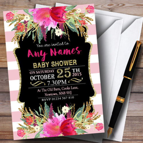 Pink Stripes Gold Floral Girls Invitations Baby Shower Invitations